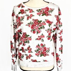 H&M Divided Floral Rose Gray Sweatshirt Pullover